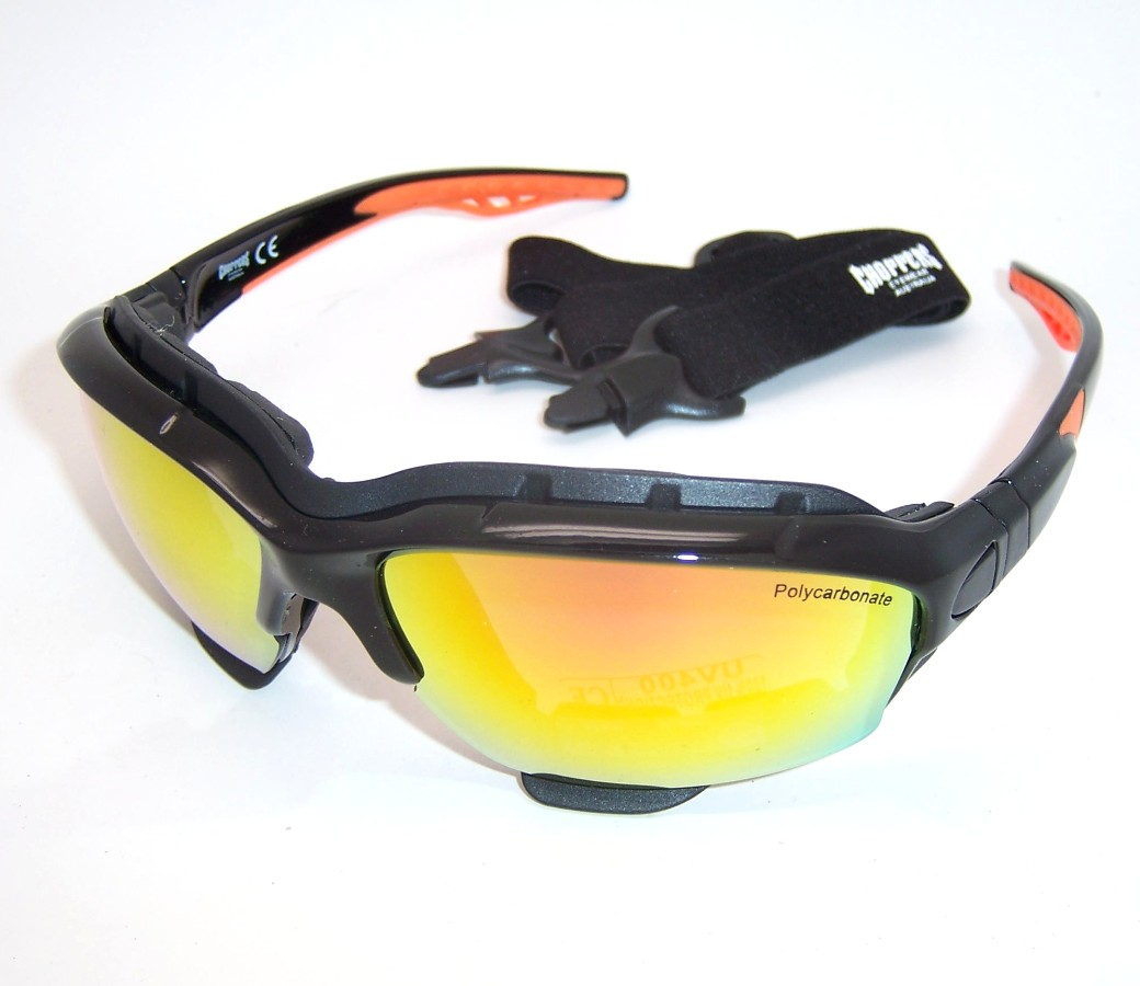 Choppers Convertible Goggles Sunglasses (Anti-Fog Coated, Revo Gold  Tinted Lens) 8963-SMR
