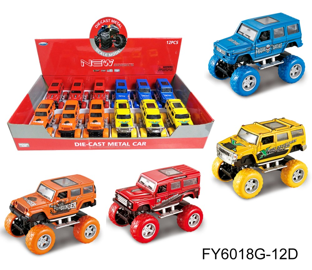 1:36 Diecast Off-Road Cars 4 colours assorted (Wrangler, Hummer, Benz, Startech) FY6018G-12D