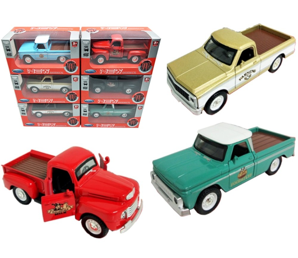 1:36 Diecast Pick Ups 3 Assorted (Johnny, Chevrolet, Ford) FY6128W