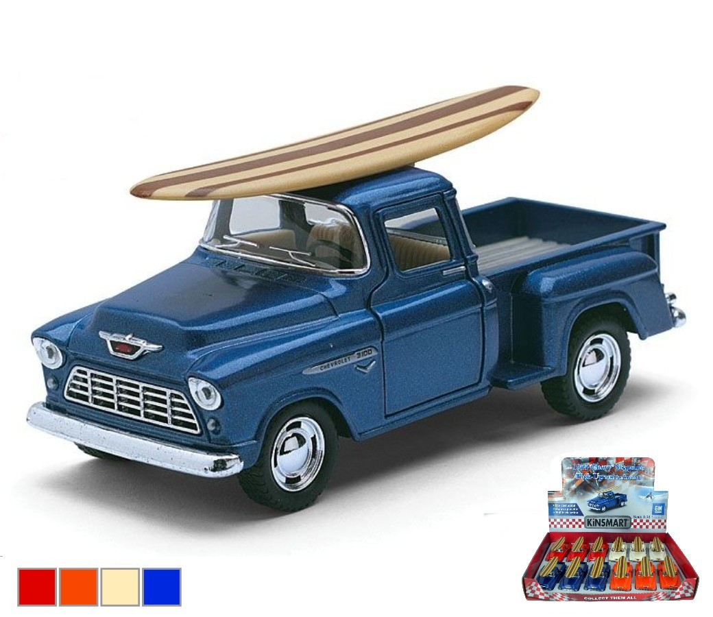 1:32 1955 Chevy Stepside Pick-up with Wooden Surfboard (4 Colors) KT5330DS1
