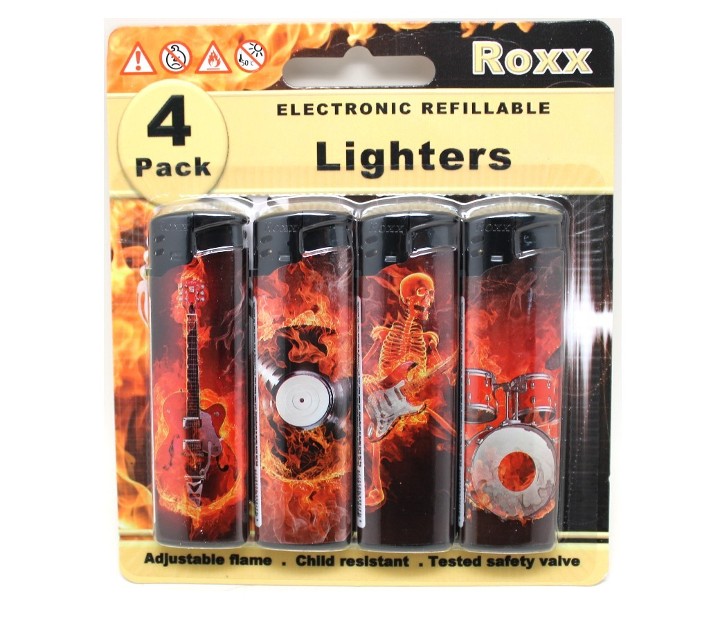 Gas Refillable Electronic Cigarette Lighter ROXX410 - Lets Rock 4pc/Blister