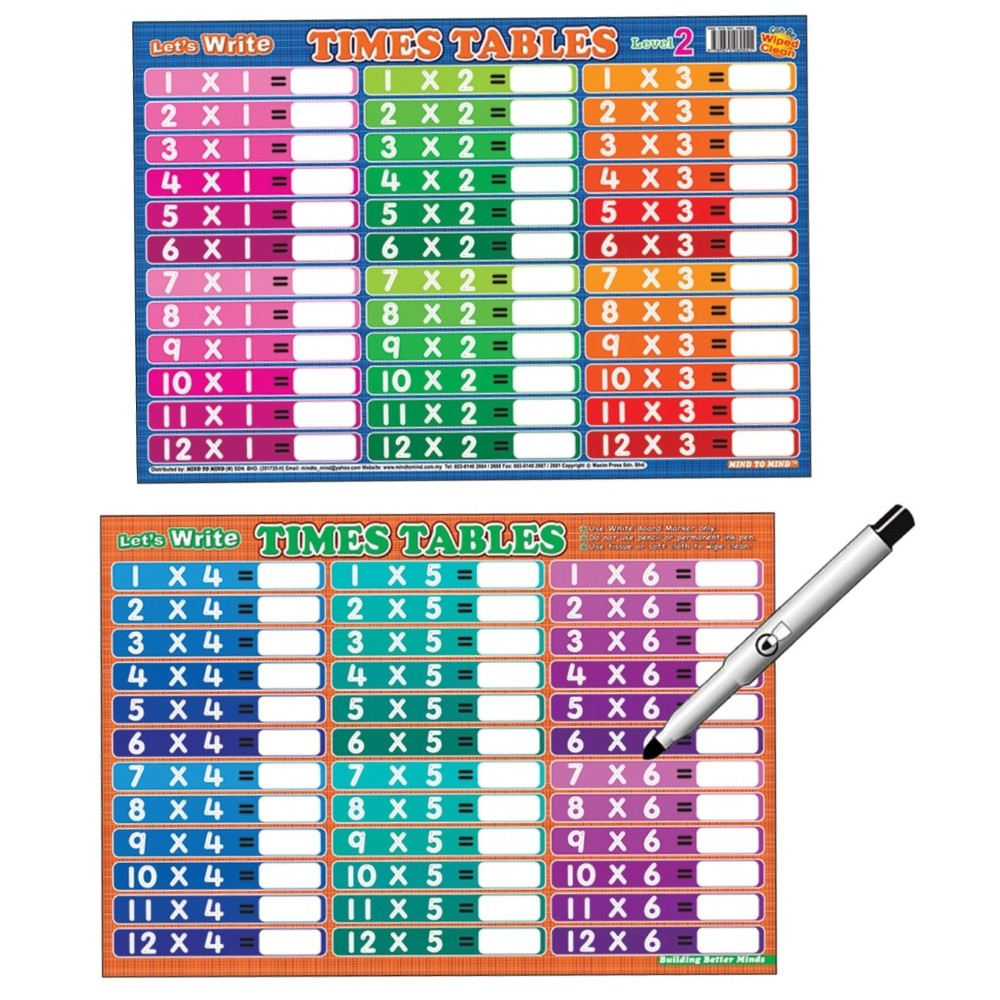 Writing Board Let's Write Times Tables (Level 2) (MM60441)
