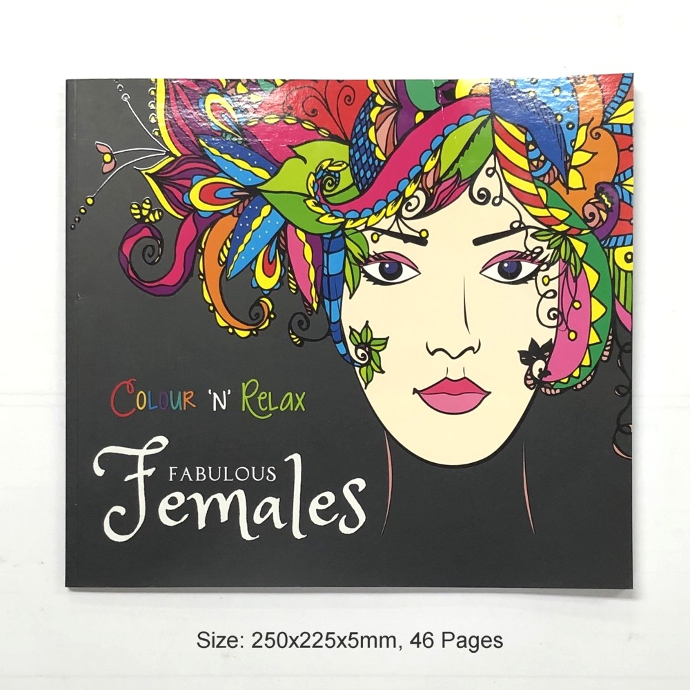 Colour & Relax Fabulous Females (46 Pages Adult Colouring Book) MM87202