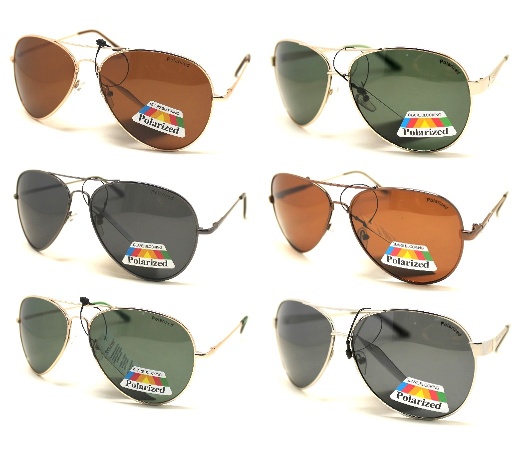 Polarized Metal Aviator Dark Lens Sunglasses Sample Pack