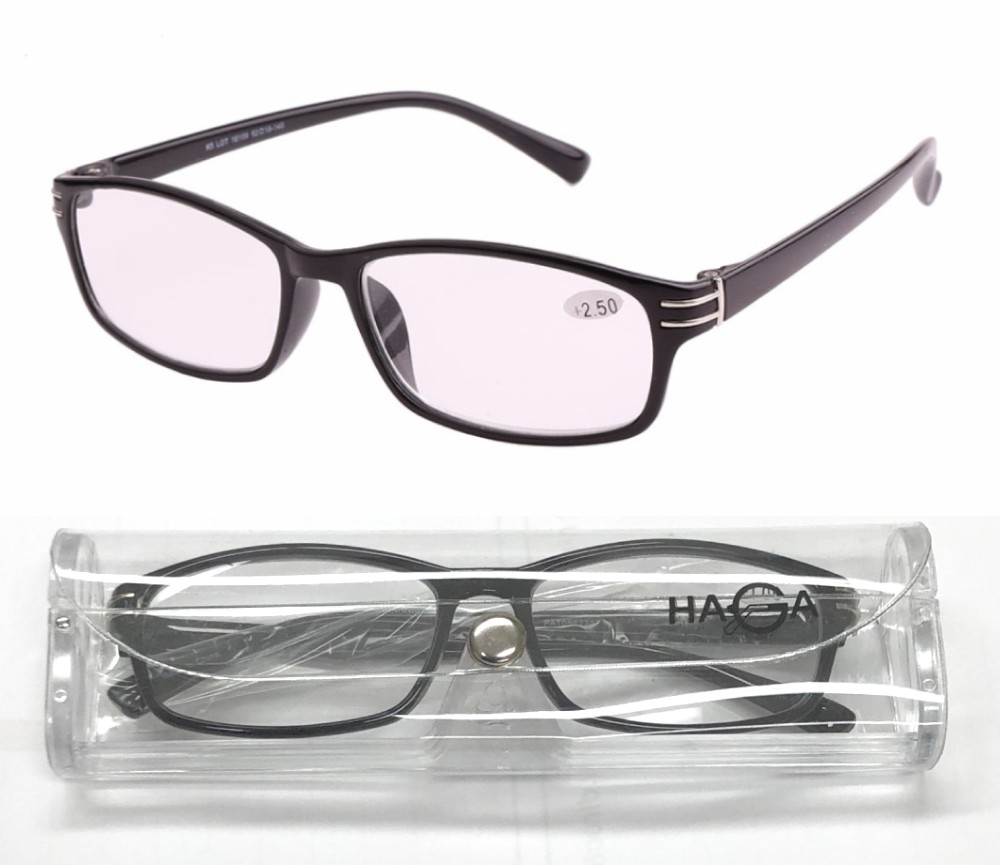 Fashion Plastic Frame Reading Glasses with Clear Case PAT0662357+Case