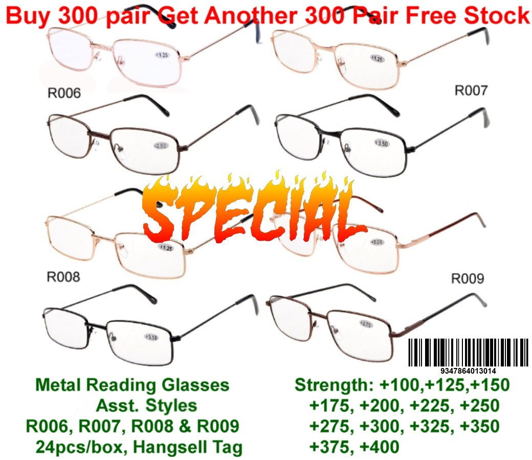 Bulk Buy 300 pair Reading Glasses Get Another 300 Pair Free Stock R006/7/8/9