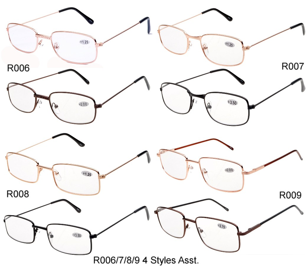Reading Glasses Metal Frame 4 Styles Assorted R006/7/8/9