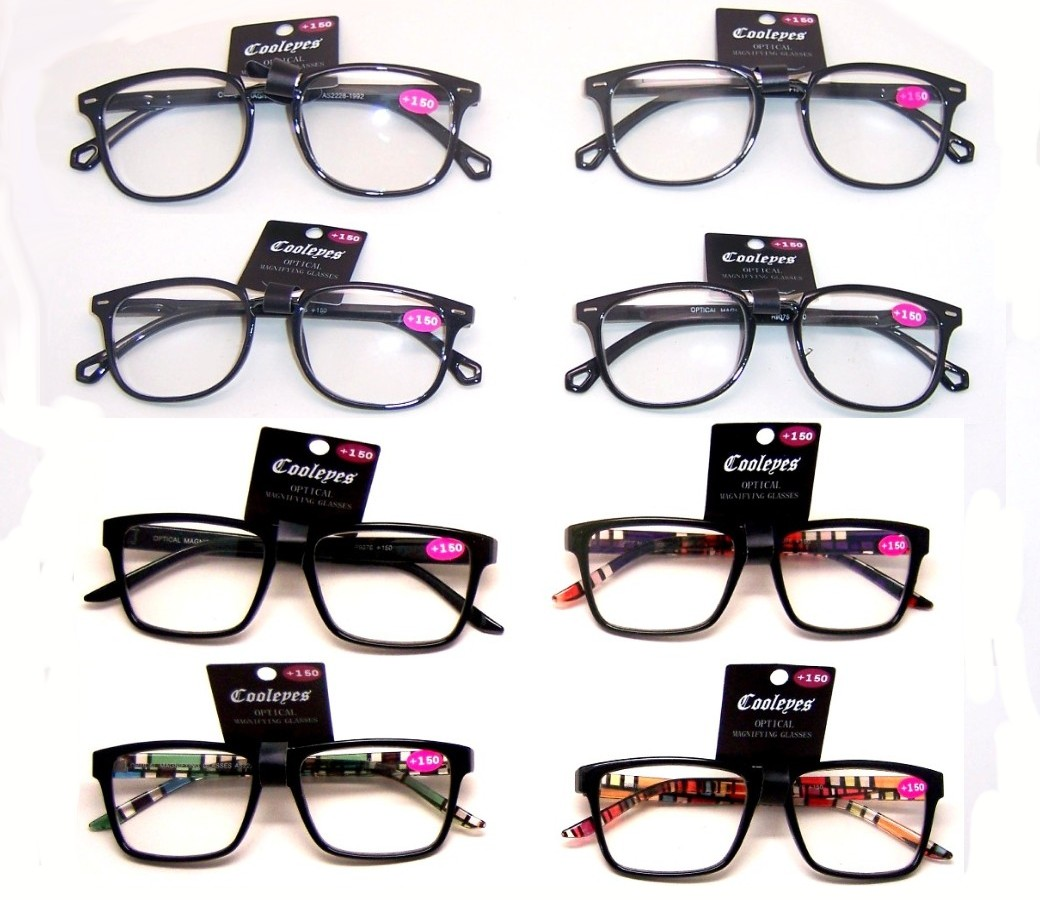 Fashion Reading Glasses Plastic Frame Spring Hinge (2 Style) R9075-R9076