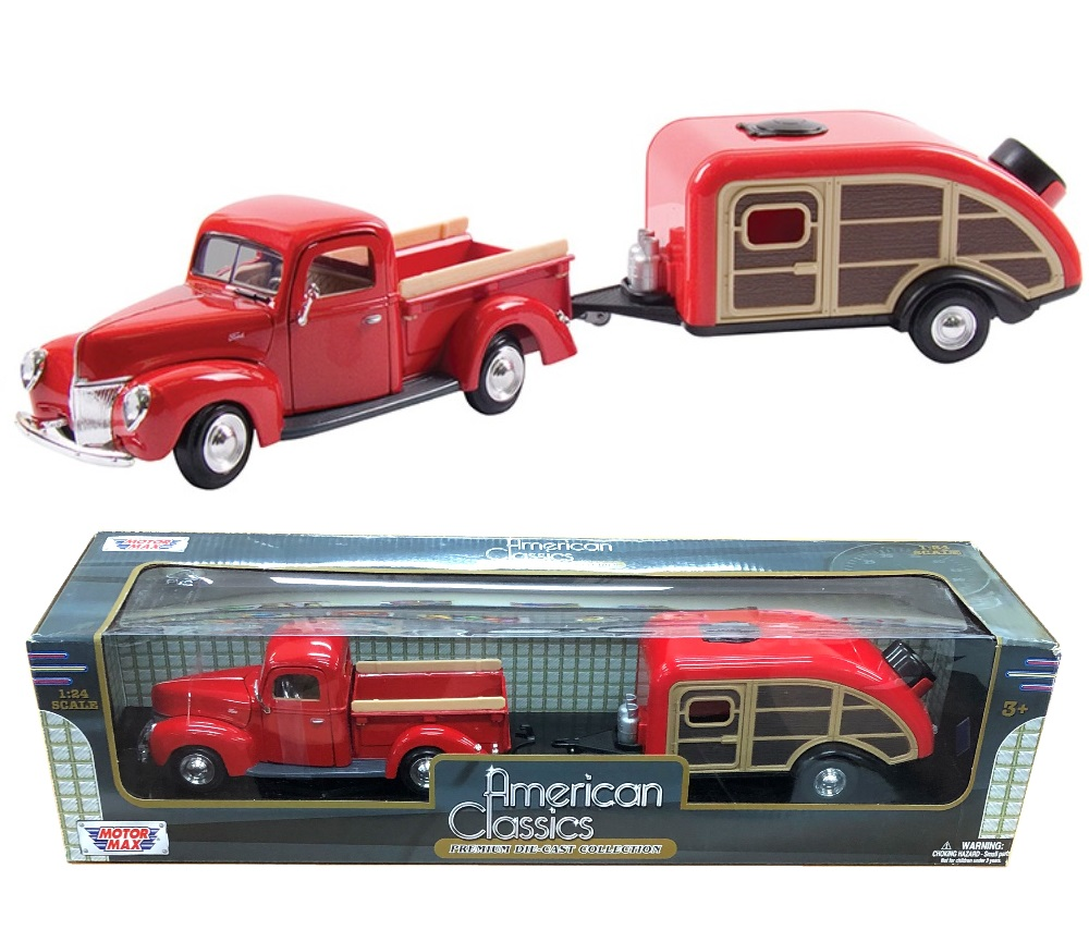 1:24 1940 Ford Pick up / House Trailer (Red) MM75200AC/73234/76083