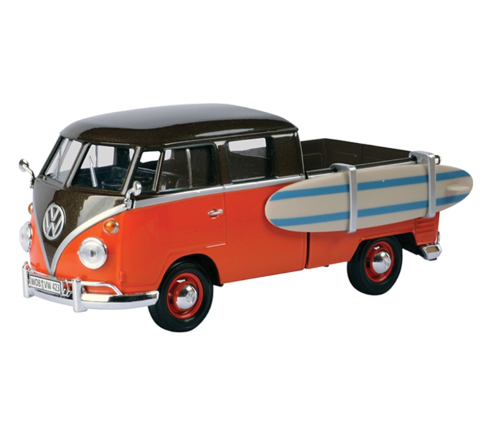 1:24 Volkswagen Type 2 (T1) - Service Pick-up with Surfboard (Black with Orange) MM79560SB
