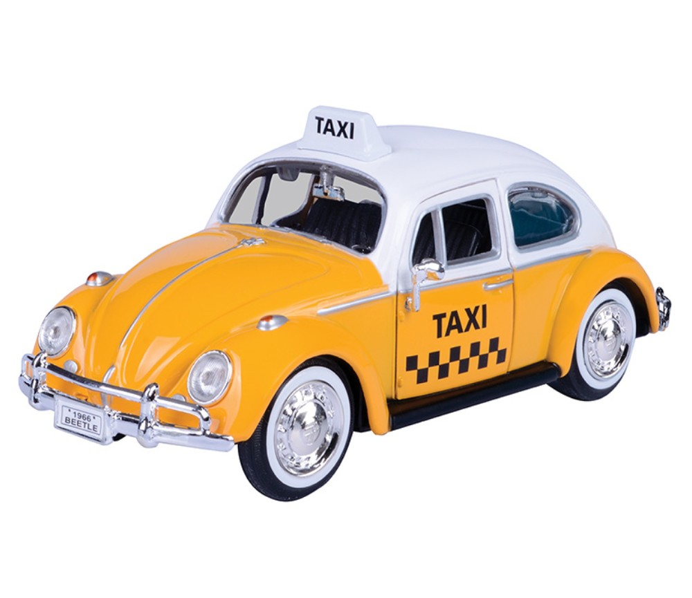 1:24 1966 Volkswagen Classic Beetle - Taxi (White with Yellow) MM79577TX