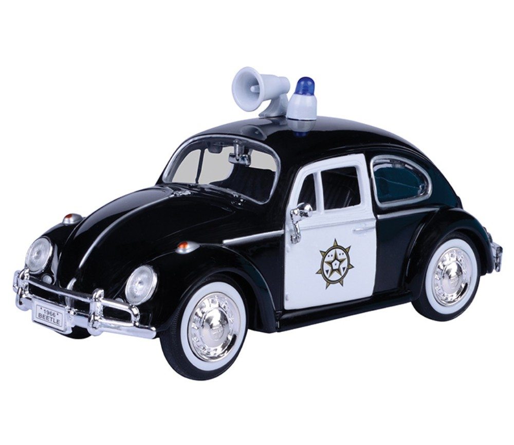 1:24 1966 Volkswagen Classic Beetle - Police Car (Black with White) - MM79578PL