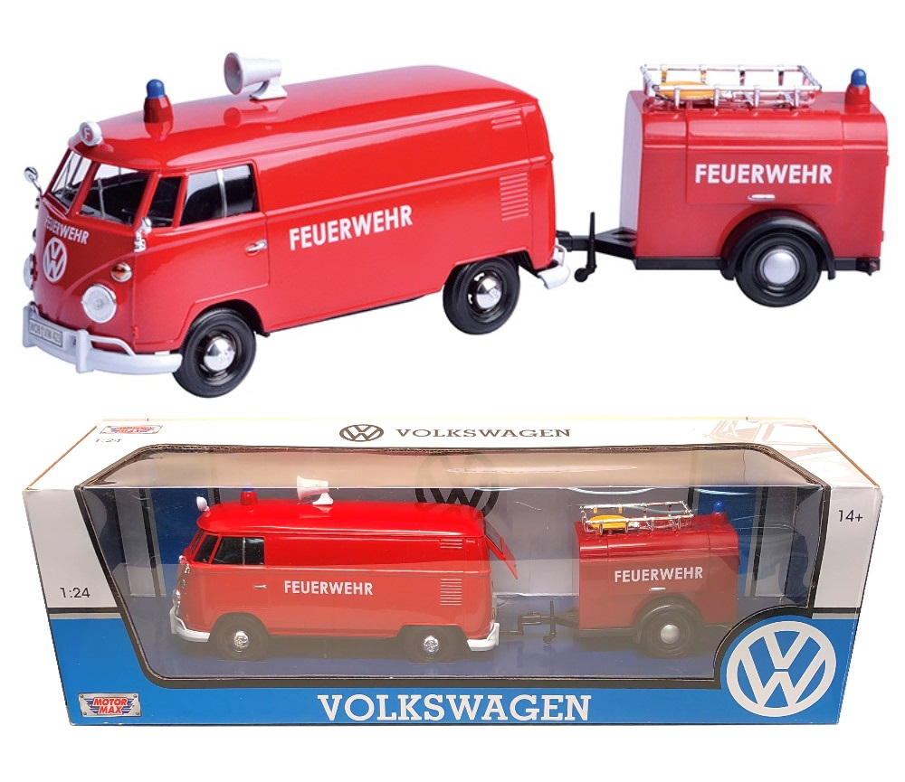 1:24 Volkswagen Type 2 (T1) - Fire Truck and Trailer (Red) MM79671FT